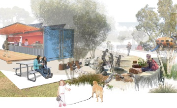 An artist's impression of some of the possible components of the proposed new Bob Gordon Reserve play space.