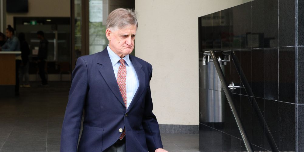 Tony Overheu leaves Perth Magistrates Court. Photo AAP