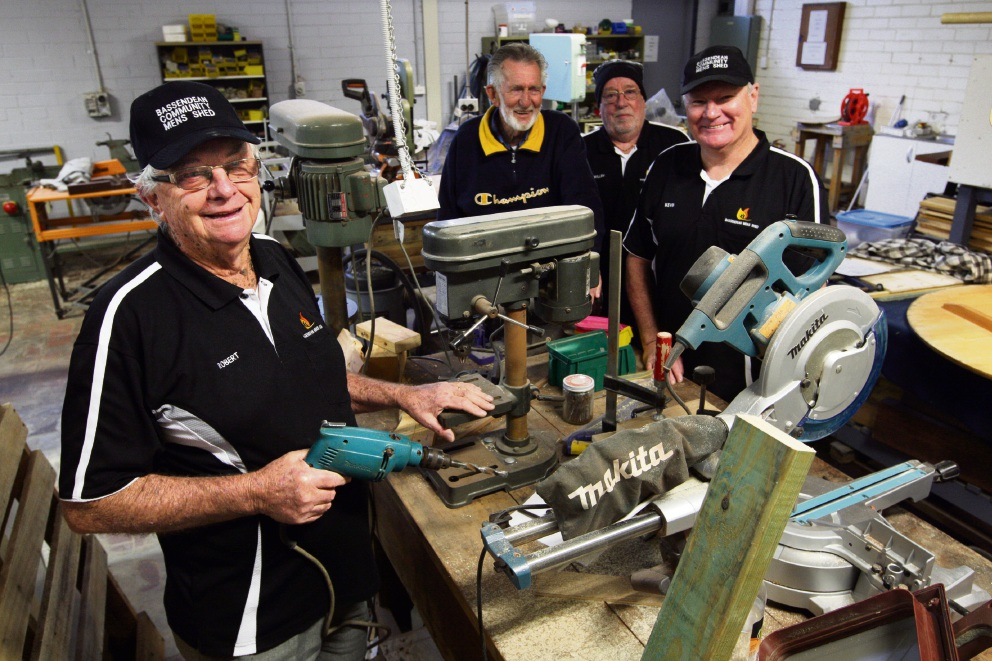 Robert Oates, Peter Mill, Willem Pabst and Kevin Crowe at the men's shed. Picture: Bruce Hunt www.communitypix.com.au   d471208