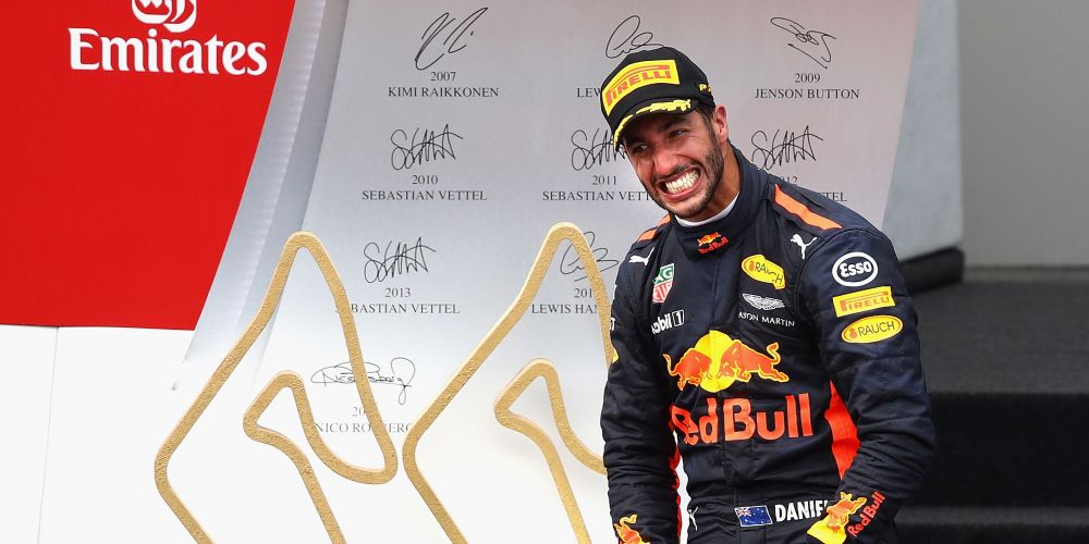 Daniel Ricciardo celebrates finishing in third place at the Formula One Grand Prix of Austria. Picture: Clive Mason/Getty Images