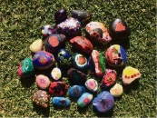Colourful rocks ready for collection.
