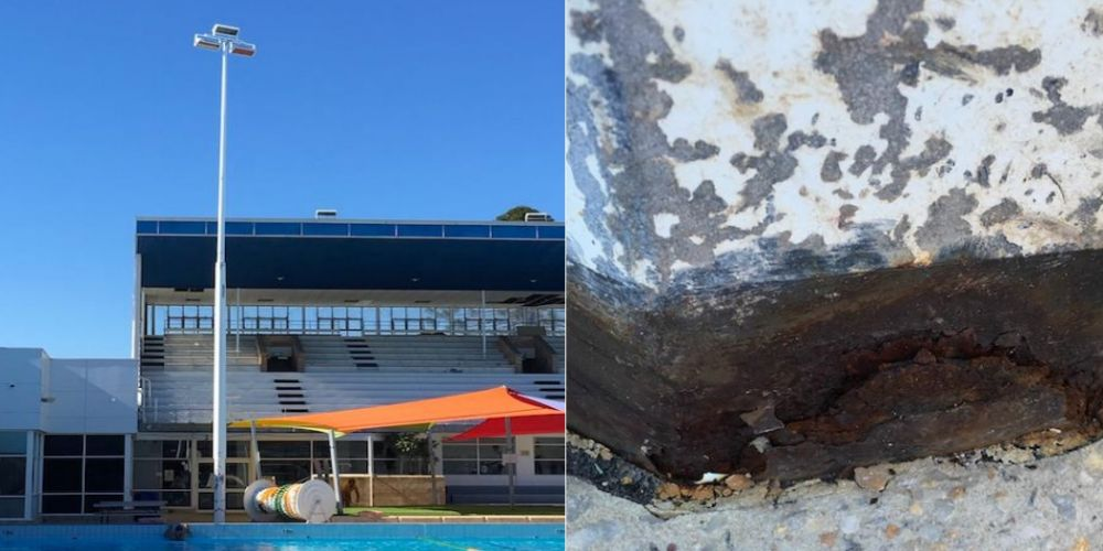 Beatty Park Leisure Centre light poles were replaced due to corrosion.