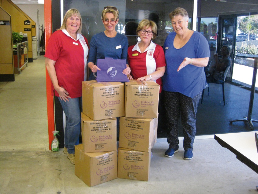 Jane Oakley, Lizzie Barrenger, Di March and Nerida Jongen with the birthing kits.