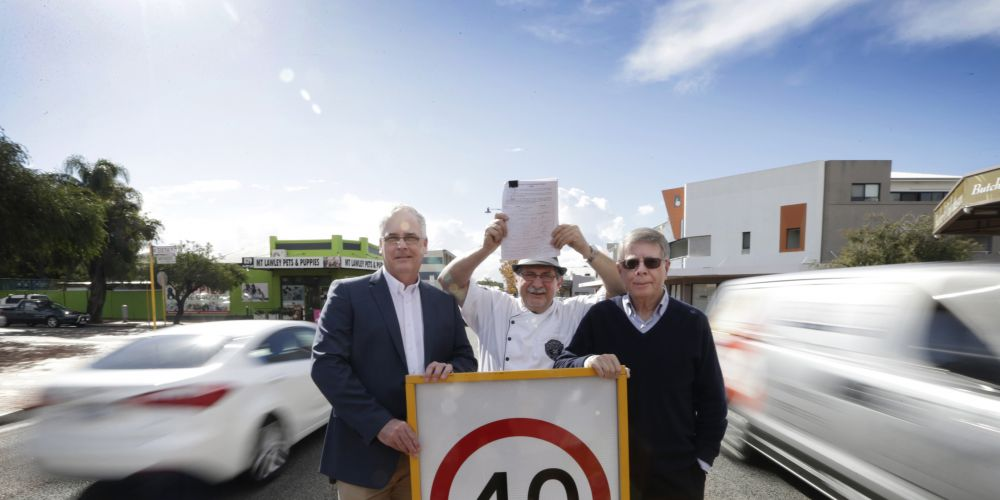 Cr David Lagan, Inglewood on Beaufort chairperson and Mondo Butchers owner Vince Garreffa and Cr Terry Tyzack. Picture: Andrew Ritchie d471389