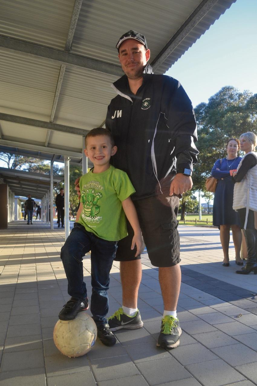 Belmont Junior Soccer Club vice-president Jerome Wilson with son Owen.