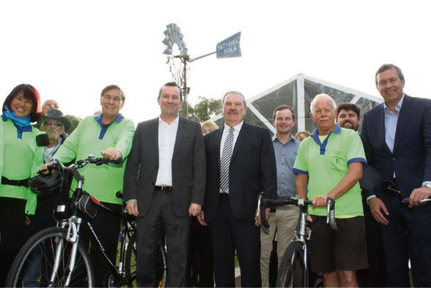 Rockingham Mayor Barry Sammels, Premier Mark McGowan and MLA Reece Whitby with members of the Rockingham Social Cycle Group (yellow shirts).