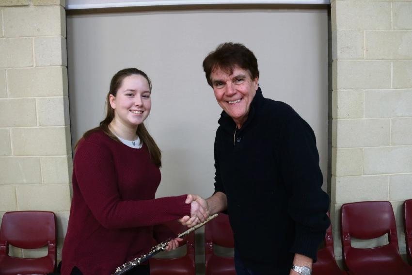 Ana Hayes with Bob Appleyard from Musicforce who is sponsoring the successful applicant.