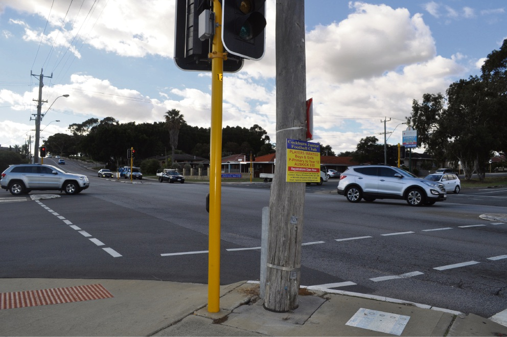 The intersection of Spearwood Avenue and Rockingham Road where new right-hand turning signals will be installed.