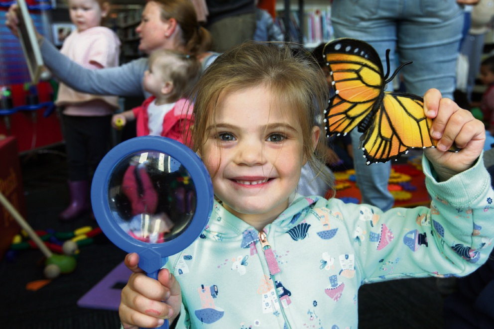 Gabby Giffen at the Scitech workshop for kids at Midland Library. Picture: Bruce Hunt
