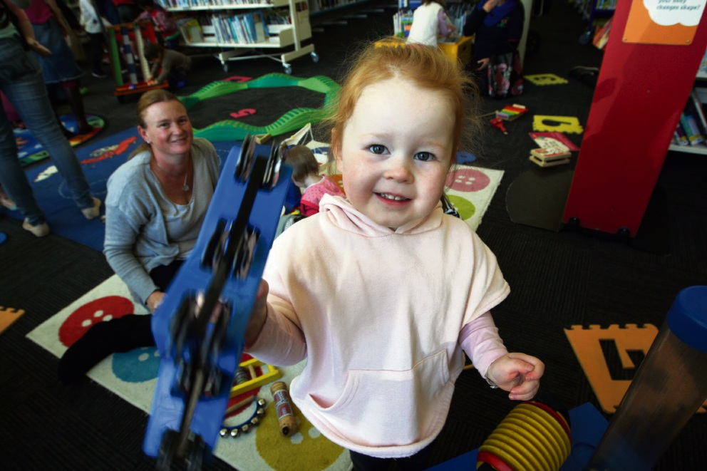 Emma Davey at the Scitech workshop for kids at Midland Library. Picture: Bruce Hunt