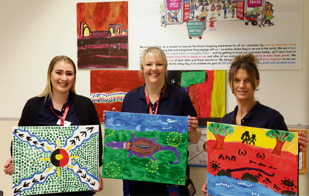 Kmart employees Tiffany Carter,Cindy Vincent and Rosa Tartaglia. Picture: Martin Kennealey