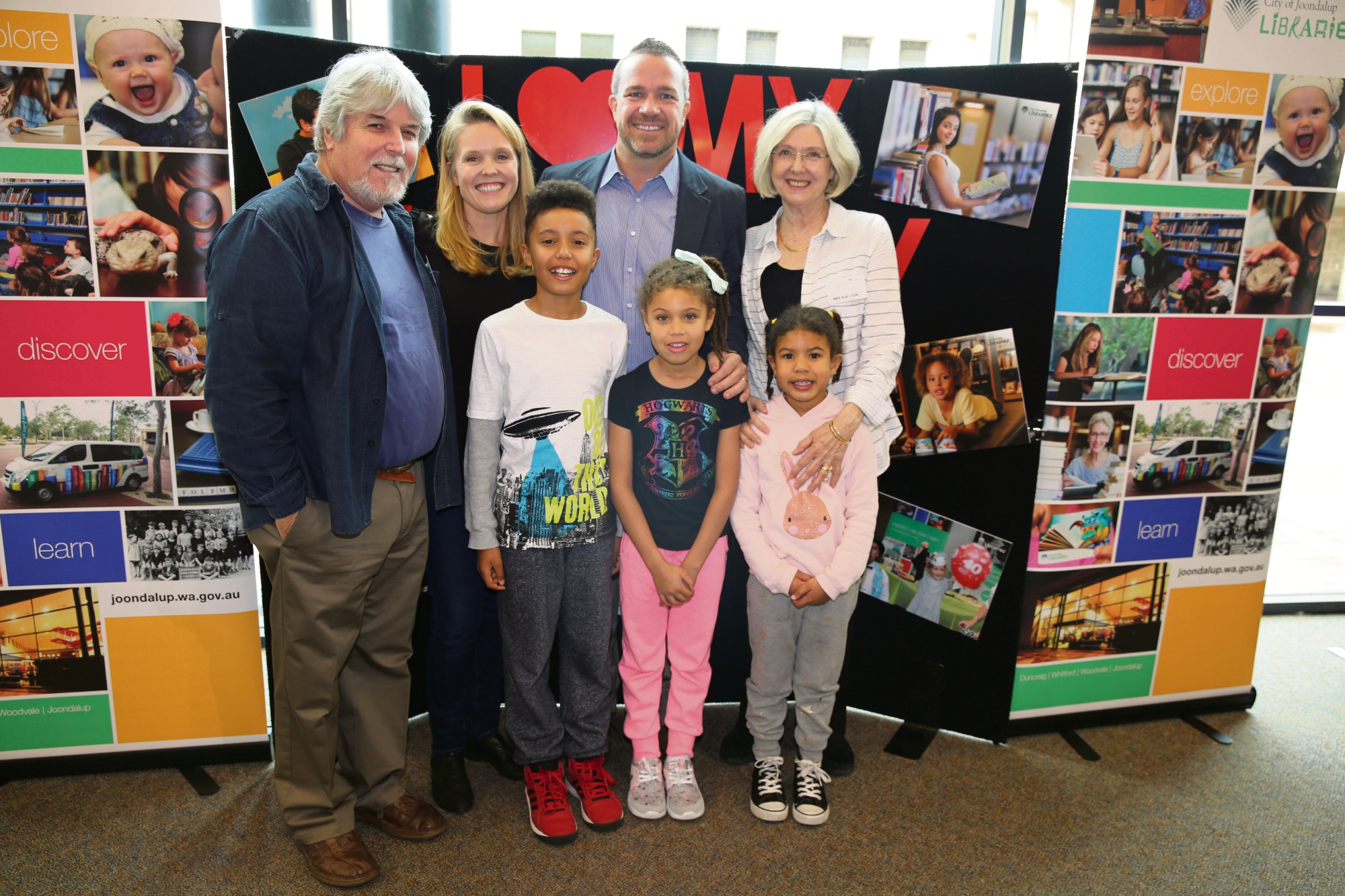 Different generations of the Augustus/Lyon family pictured with Mayor Troy Pickard spoke about what Joondalup Library means to them.