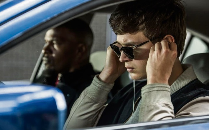 Jamie Foxx and Ansel Elgort in Baby Driver.
