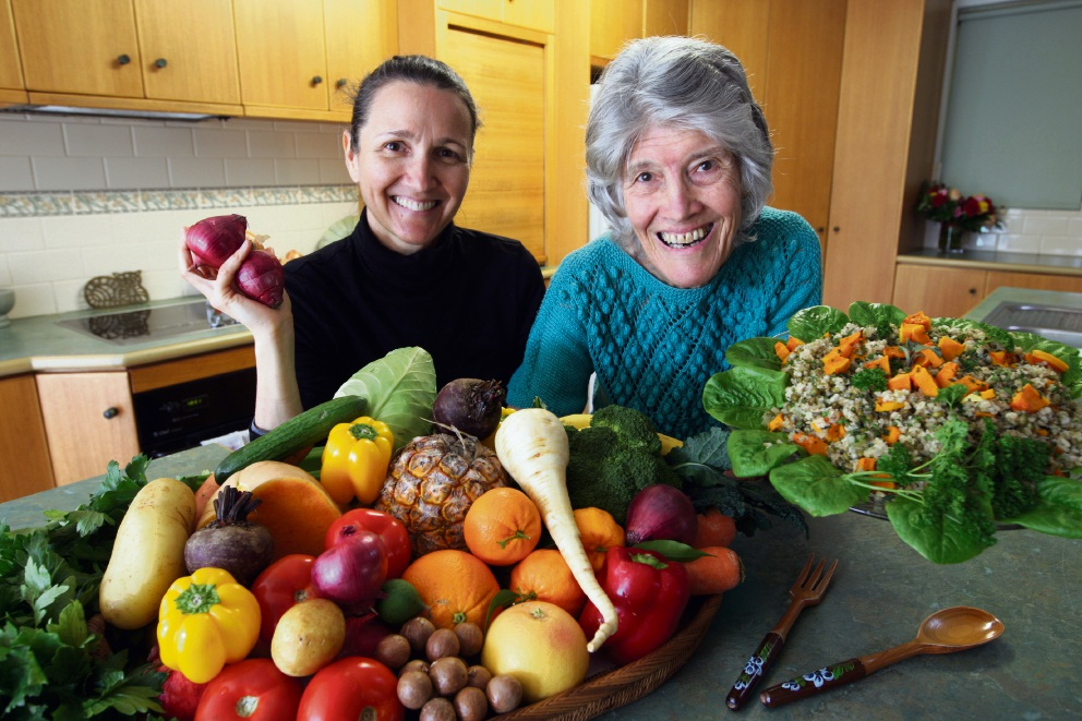 Carmel resident Sylvia Bush and event co-ordinator Jo Laing preserving the harvest. Picture: Bruce Hunt
