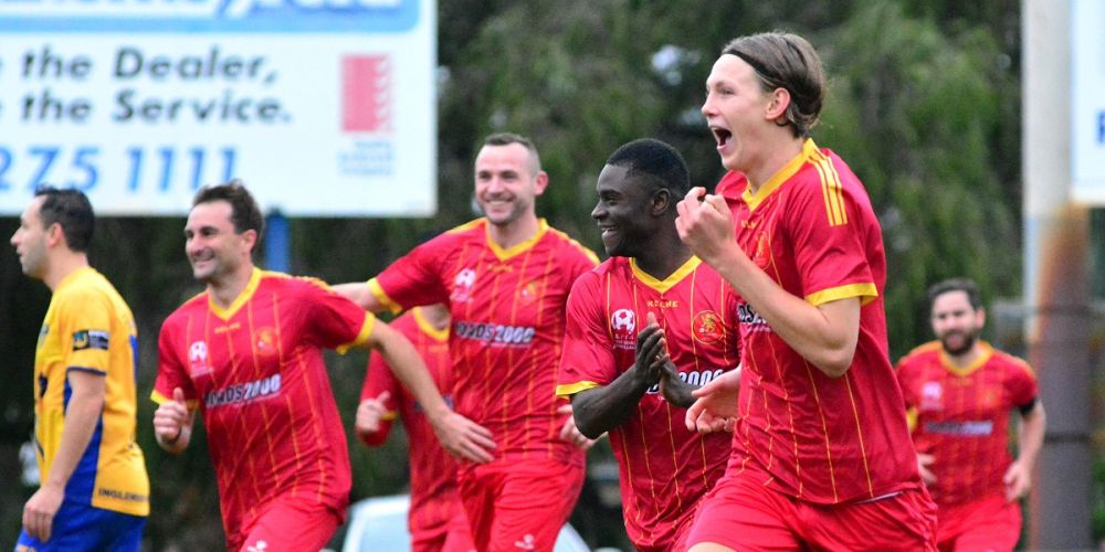 Stirling Lions celebrate their 3-1 win over Inglewood United. Picture: Brett Klucznik