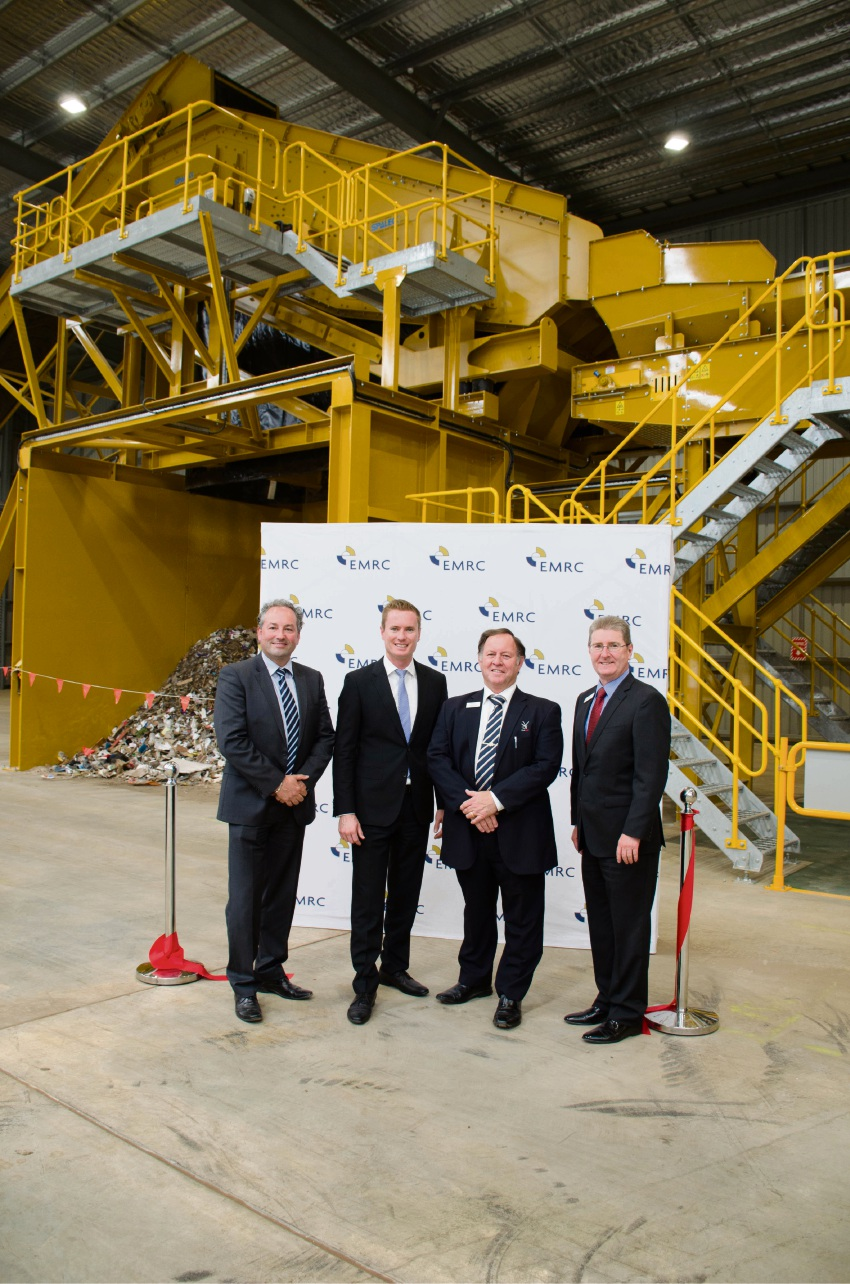 Marcus Geisler, Albert Jacob, David Fardig and Peter Schneider at the launch of the EMRC's Commercial and Industrial Waste Sorting Facility.