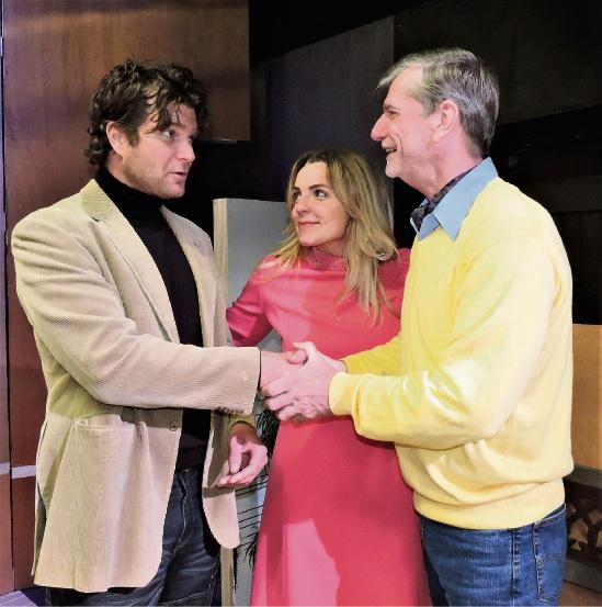 Rhett Clarke, Jennifer McGrath and Rodney van Groningen star in Relatively Speaking.