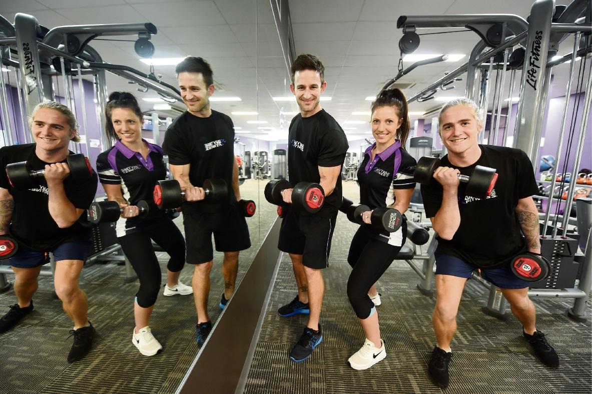 Anytime Fitness Falcon staff Daniel Tancock, Teneale Ashfold and Ben Emerick. Picture: Jon Hewson d471486