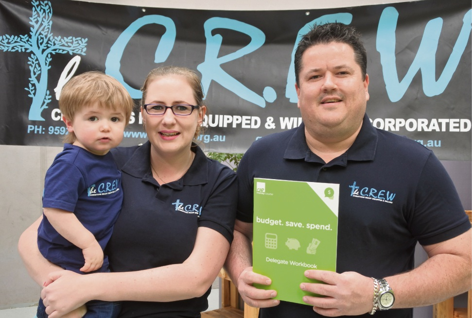 Volunteers Justin and Penne, with their son Lachlan, are providing free budgeting courses at CREW Rockingham.