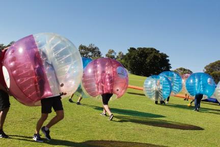 Duncraig SHS students play bubble soccer.