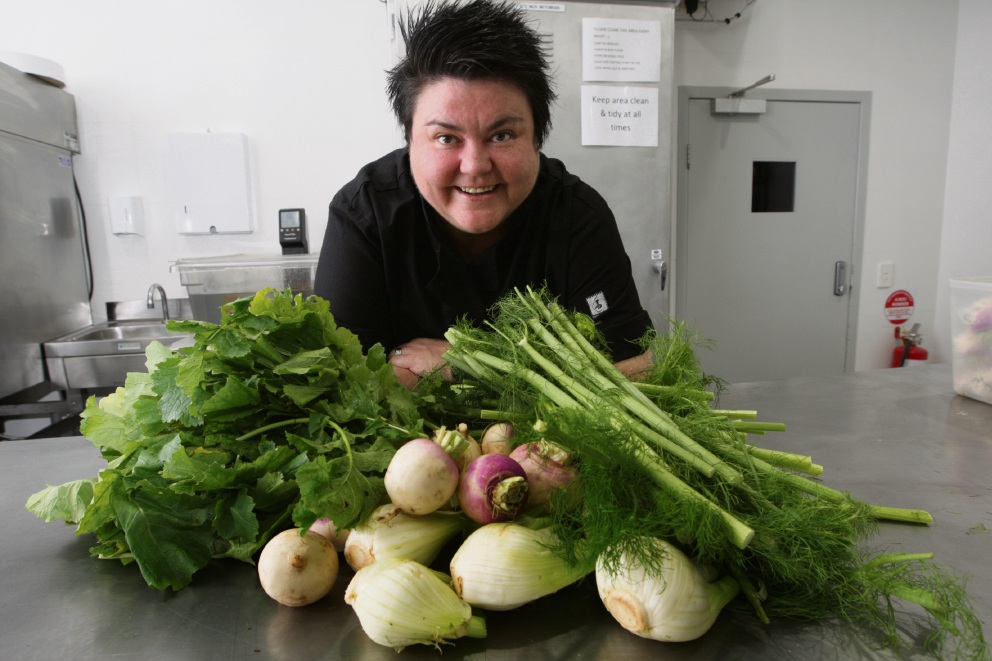 Chef Melissa Palinkas tries to use as much of the produces she cooks with as possible, turning bones into stock and vegetables into jam. Picture: Bruce Hunt www.communitypix.com.au   d471752