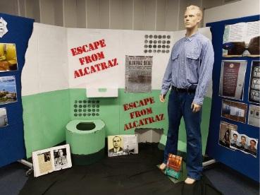 The replica Alcatraz prison cell.