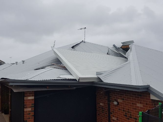 A patio from down the road blew into the O'Brien's home