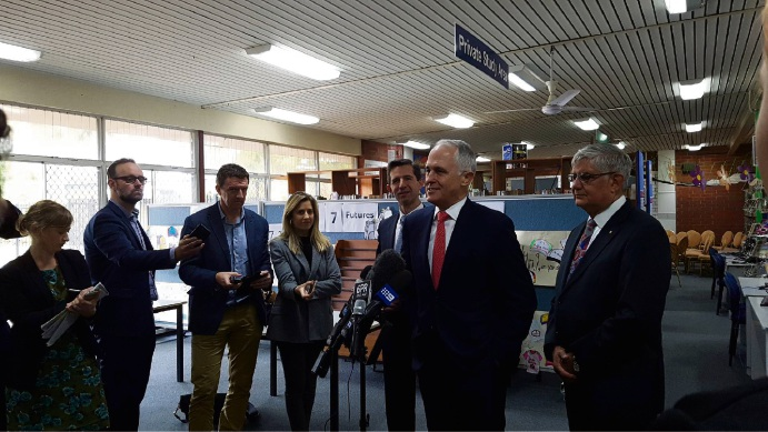 Prime Minister Malcolm Turnbull at Swan View High School this morning, where he announced a funding package for indigenous students. Picture: Lynn Grierson