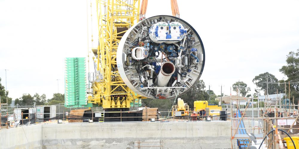Tunnel-boring machine Grace being lowered into the 'dive structure' ahead of tunneling.