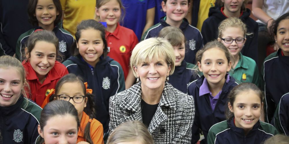 Julie Bishop with students from Presbyterian Ladies College, which she visited on Friday.