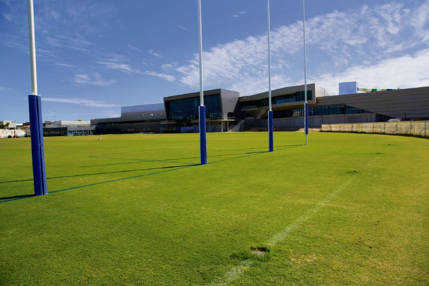 The administration building at Fremantle Football Club's new Cockburn Central West facility.