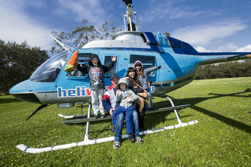 Chopper ride: Arron, Ruben, Lucian, Kay and Jamie Bircel after their helicopter ride at last year's family fun day.