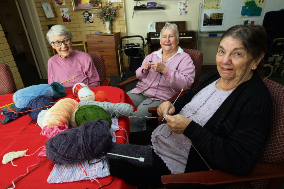 Knitters making blankets for new born babies at King Edward Memorial Hospital.