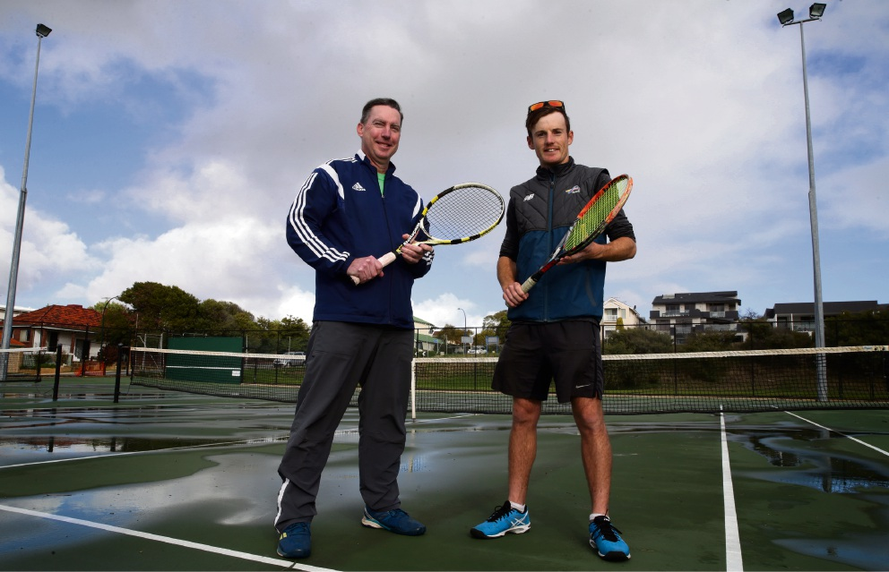 Tennis coaches James Guilfoile and Jack Baldwin. Picture: Martin Kennealey www.communitypix.com.au d471879