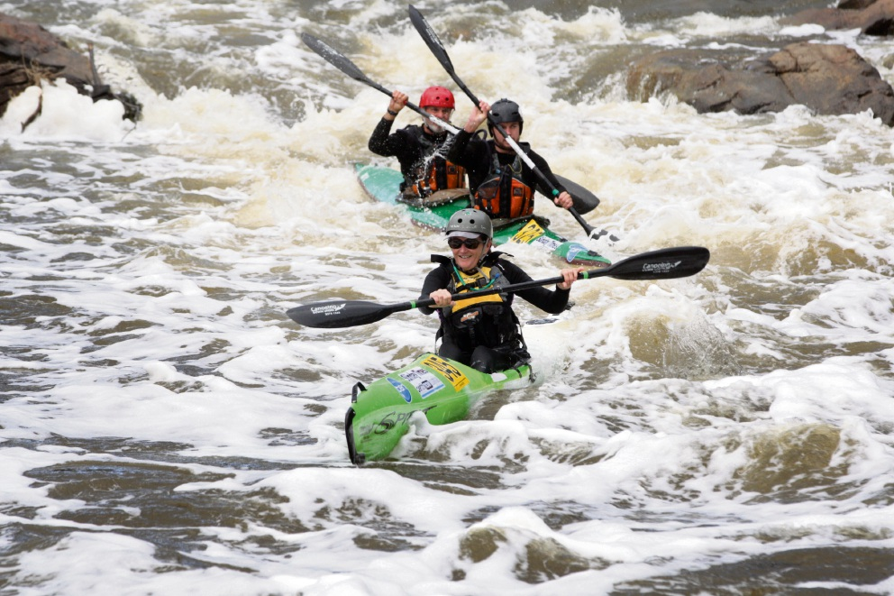 Jane, Michael and Peter Liddle love the challenge of whitewater racing. Picture: Bruce Hunt d471933