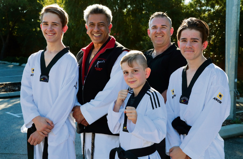 Trainers Charles Rawlins and Borivoj Vojnovic with brothers Stefan, Nikolas and Daniel Vojnovic. Picture: Martin Kennealey www.communitypix.com.au   d469698