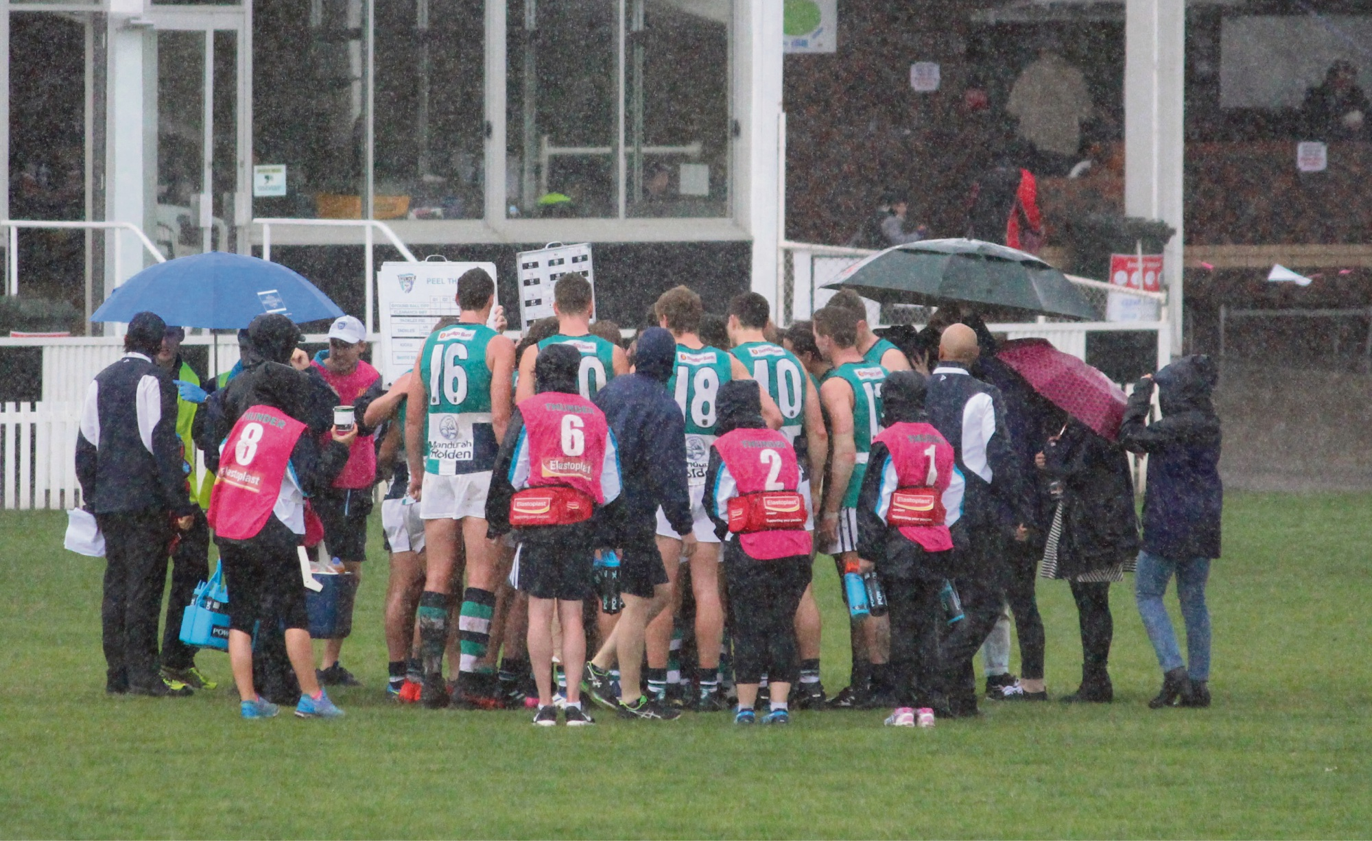 The rain came down during the quarter-time break at Steel Blue Oval.