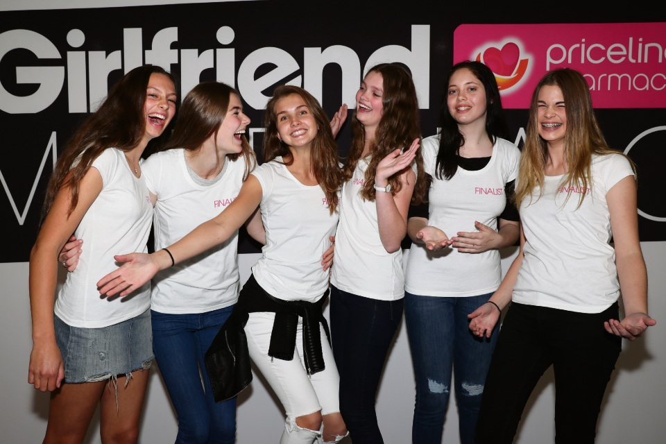 WA state finalists for the Girlfriend Priceline Pharmacy Model Search; Saskia Cumming (Left), Olivia Fowler, Cameron Flynn, Emma Gale, Jemma Stons and Catherine Rivett.