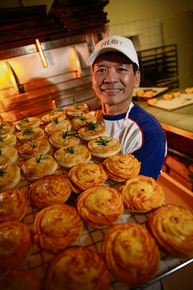 Brighton Bakery owner Vuong Dong  claimed seven awards at the Royal Bread and Pastry Show last week, including bronze for pasties and beef pies. Picture: Andrew Ritchie www.communitypix.com.au   d459111