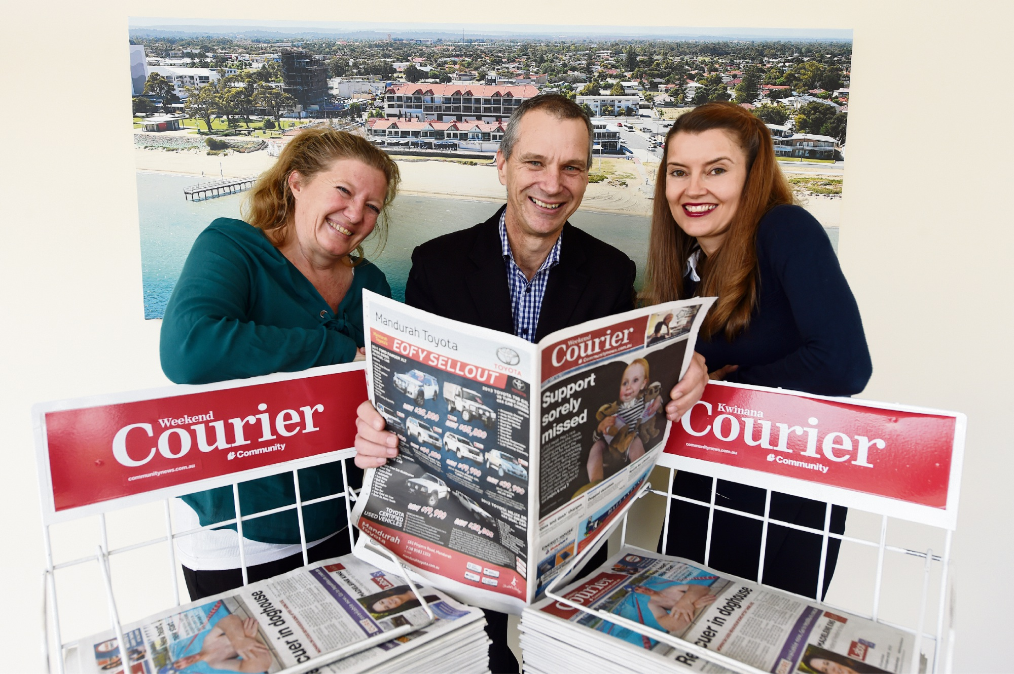 Weekend Courier reporters Gabrielle Jeffery and Tim Slather with editor Vanessa Schmitt.