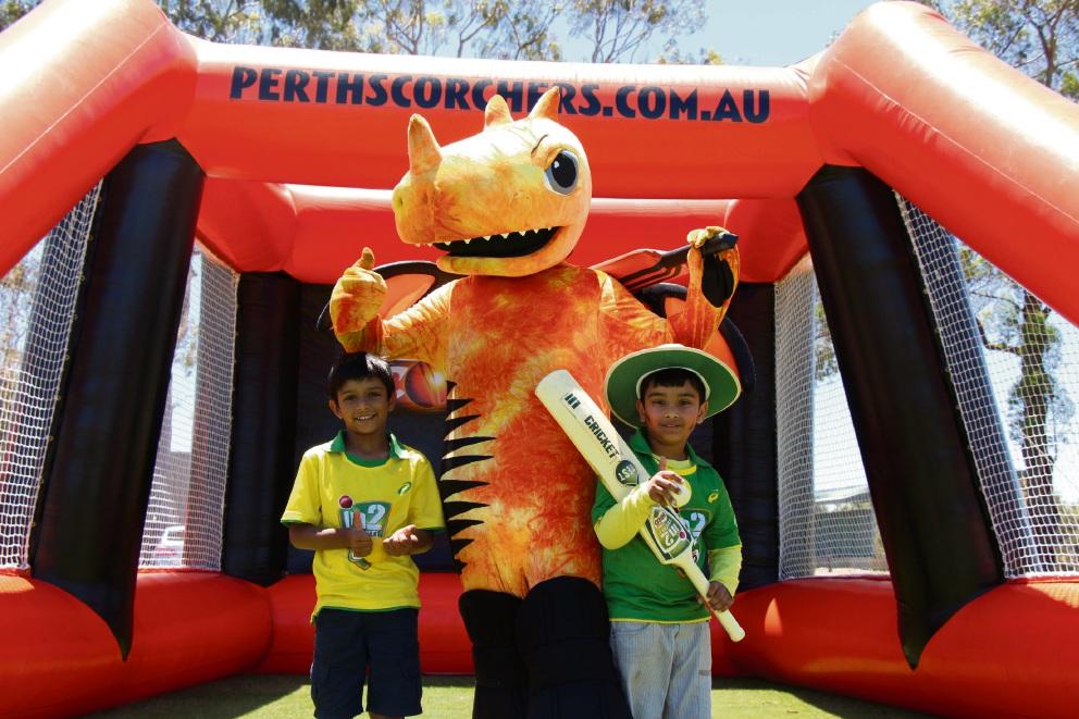 Perth Scorchers mascot Blaze with Milo in2CRICKET participants