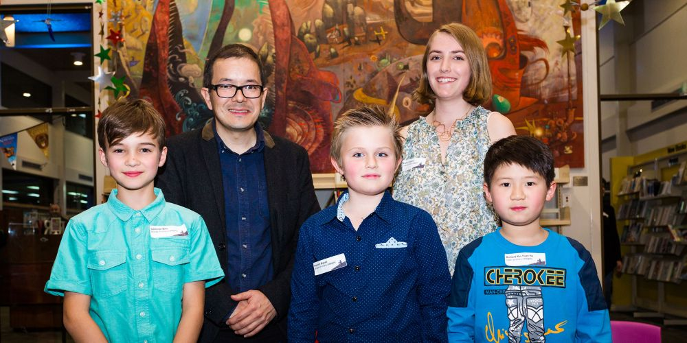 Back: Shaun Tan and Evelyn Carapetis. Front Cameron Bills, Hamish Byass and Richard Hu, who were among those who won the 2017 Shaun Tan Award for Young Artists.