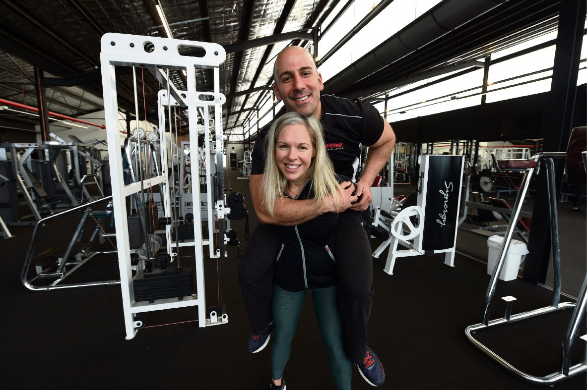 Warehouse Fitness Centre owners Aaron and Sam Vinci say it was worth all the work to keep it going.  Picture: Jon Hewson