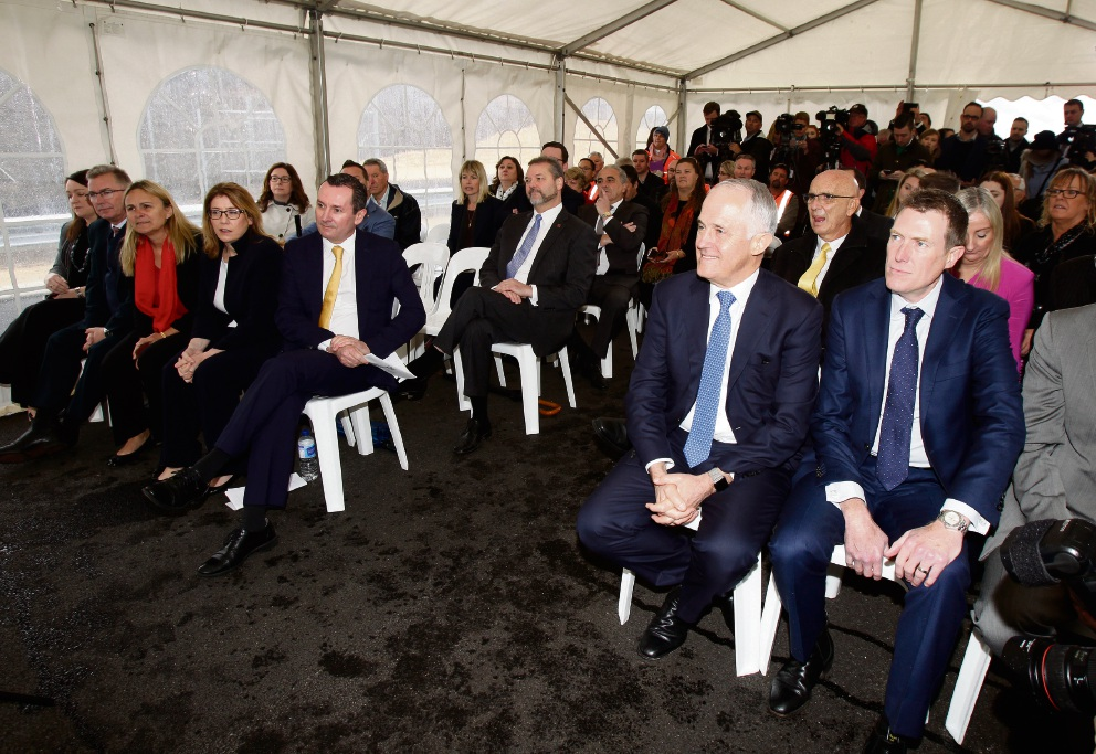 WA Transport Minister Rita Saffiioti, WA Premier Mark McGowan, Prime Minister Malcolm Turnbull and Federal Member for Pearce Christian Porter at the official opening of the Mitchell Fwy extension. Picture: Marie Nirme d472369