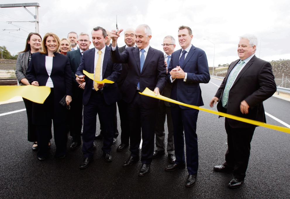 Ribbon cutting ceremony with WA Premier Mark McGowan and Prime Minister Malcolm Turnbull during the official opening of the Mitchell Fwy extension. Picture: Marie Nirme d472369
