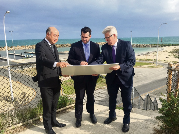 Moore MHR Ian Goodenough, Assistant Treasurer Michael Sukkar and Joondalup chief executive Garry Hunt at the Ocean Reef Marina site.