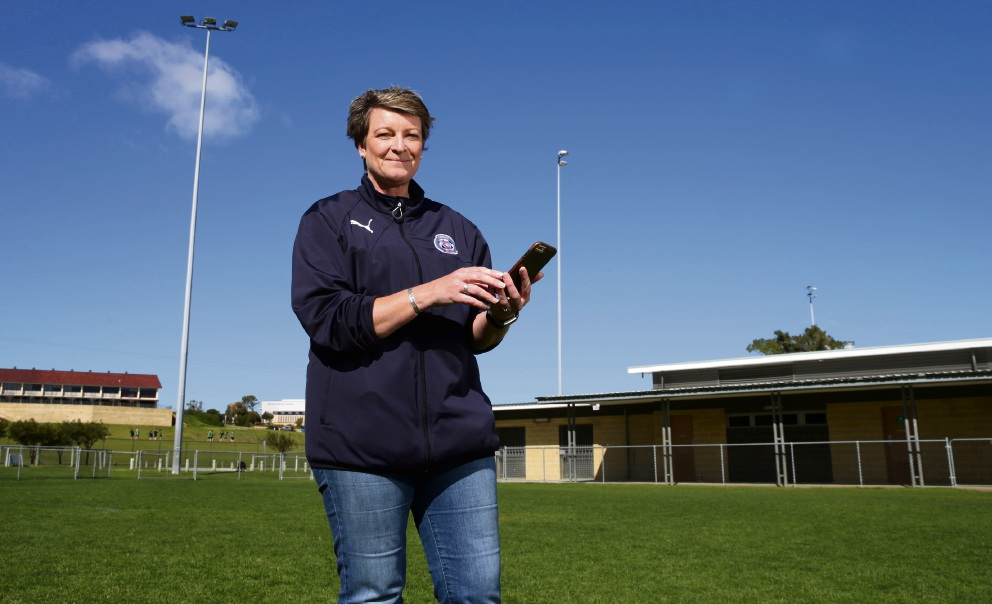 Quinns FC secretary Rachel Bryden can now turn the lights at Gumblossom Reserve on and off using her mobile phone. Picture: Martin Kennealey d472289
