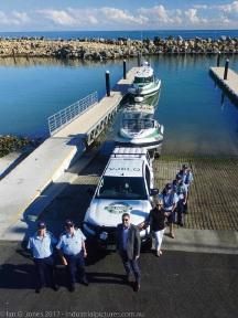 Quadrant Energy representatives hand over the new four-wheel drive ute to Whitfords Volunteer Sea Rescue Group at Ocean Reef Marina. Picture: Ian Jones