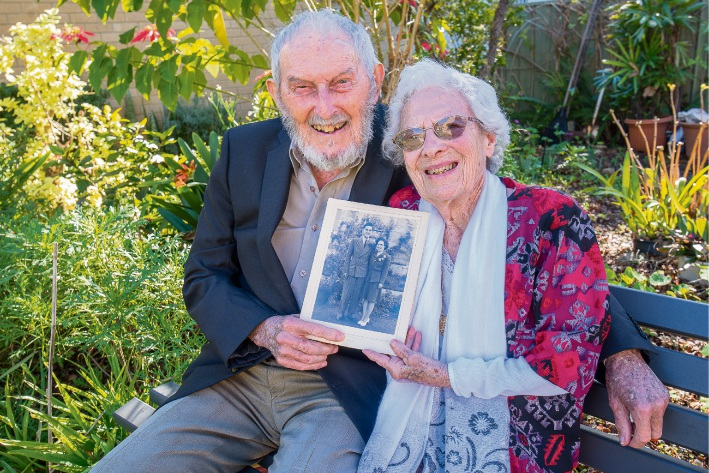 Love was right on schedule: John and Helen Miller, who met by chance on a train platform, celebrated 70 years of marriage on July 18. Picture: Emma Geary