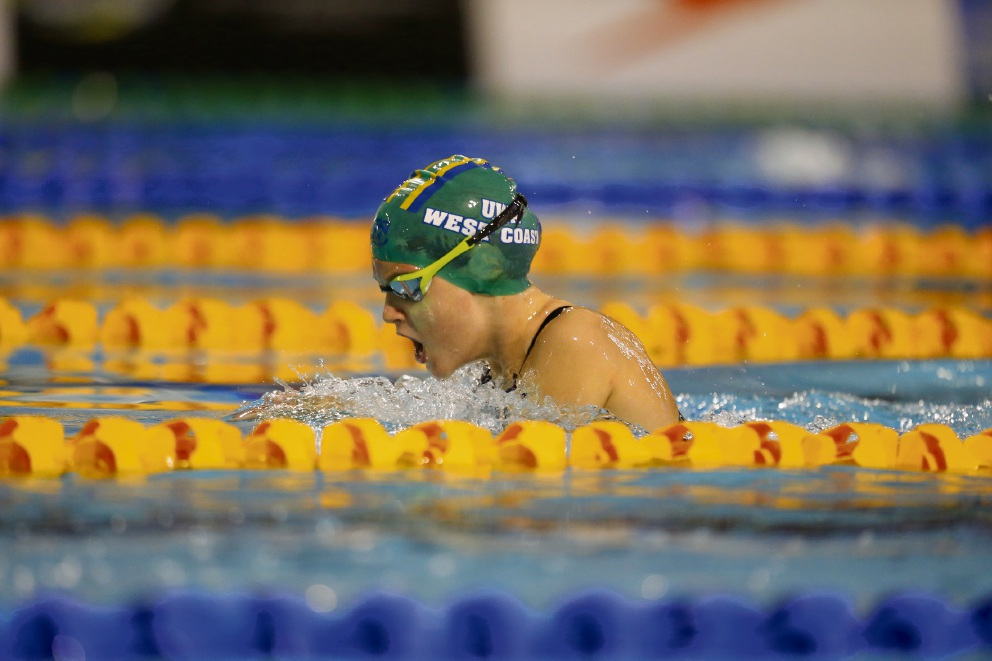 Sina Metzger, 10, who has been selected for the Pacific School Games in Adelaide, ompeting in the breaststroke.